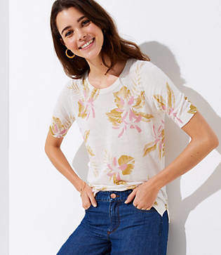 LOFT Floral Short Sleeve Sweater