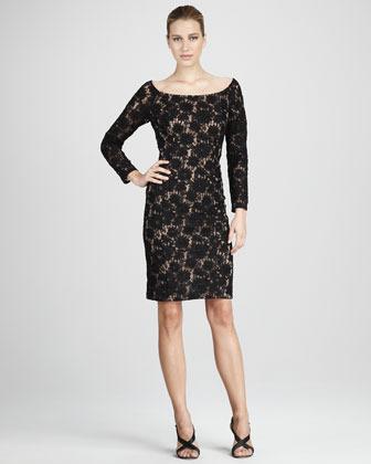 Carmen Marc Valvo Off-Shoulder Long-Sleeve Lace Cocktail Dress