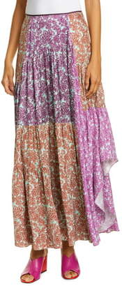 AMUR Scout Pleated Floral Silk Maxi Skirt