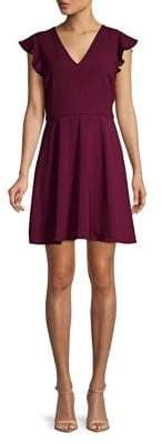 WAYF V-Neck Flutter-Sleeve Dress