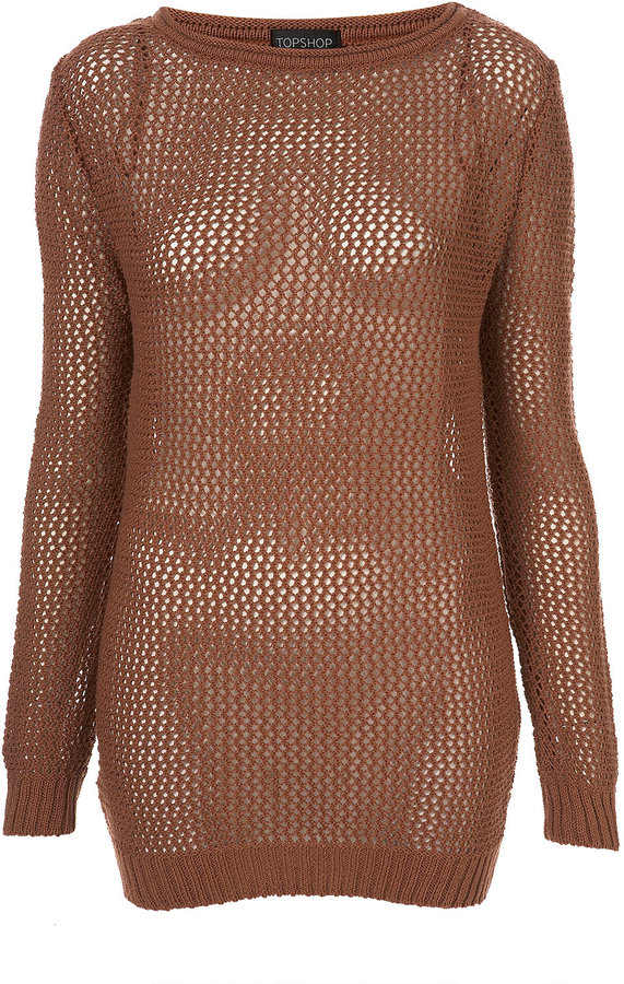 Knitted Mesh Long Jumper