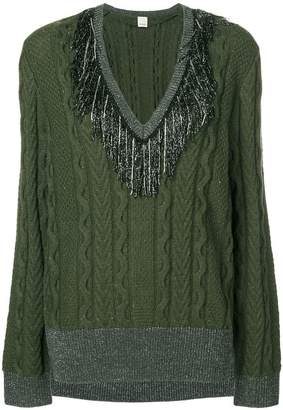 Pinko tinsel fringe cable knit sweater
