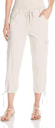 Caribbean Joe Women's Stretch Twill Tie Leg 5 Pocket Cargo Capri
