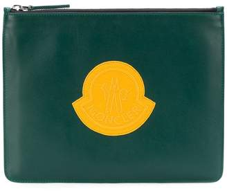 Moncler logo embroidered clutch