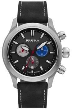 Brera Orologi Eterno Chrono Stainless Steel& Leather Chronograph Strap Watch/Black