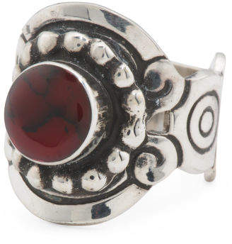 Made In Mexico Sterling Silver Aztec Red Coral Ring
