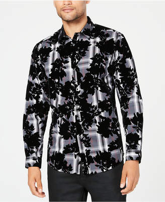 INC International Concepts I.n.c. Men Flocked Plaid Shirt