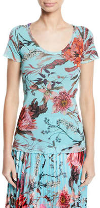 Fuzzi Short-Sleeve Scoop-Neck Botanical Tee