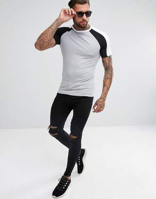 Asos DESIGN muscle fit t-shirt with double contrast raglan