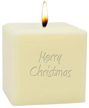 "Carved Solutions 3"" Eco-Luxury Merry Christmas Soy Candle"
