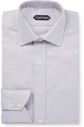 Tom Ford Grey Slim-Fit Cotton-Twill Shirt
