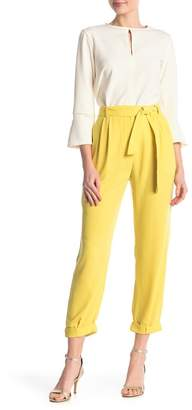 Free Press Solid Crepe Belted Cropped Pants