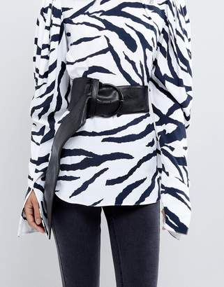 Asos Wide Waist Belt With Ring Buckle