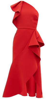 Elie Saab Ruffled One Shoulder Crepe Dress - Womens - Red