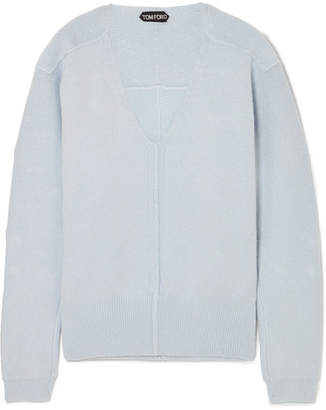 Tom Ford Embellished Silk-blend Sweater - Light blue