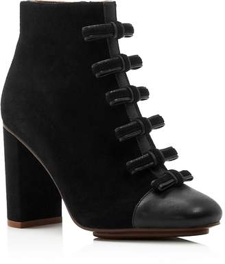 See by Chloe Women's Gisel Bow Almond Toe Suede High-Heel Booties