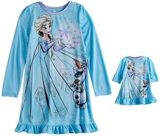 Disney Disney's Frozen Elsa & Olaf Girls 4-8 Dorm Nightgown & Doll Gown