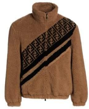 Fendi Colorblock Camel Hair Shearling Jacket