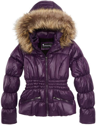 S. Rothschild Big Girls Hooded Puffer Jacket with Faux-Fur Trim