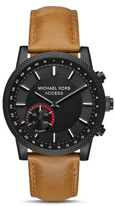 Michael Kors Hutton Brown Leather Strap Hybrid Smartwatch, 43mm