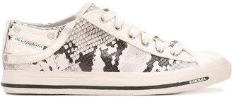 Diesel snakeskin print sneakers $138.16 thestylecure.com