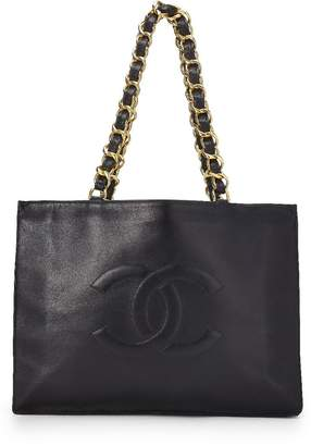Chanel Black Lambskin Flat Chain Tote