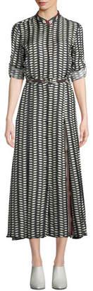 Gabriela Hearst Belted Long-Sleeve Printed Midi Dress