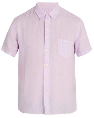 120% Lino Short Sleeved Linen Shirt - Mens - Purple