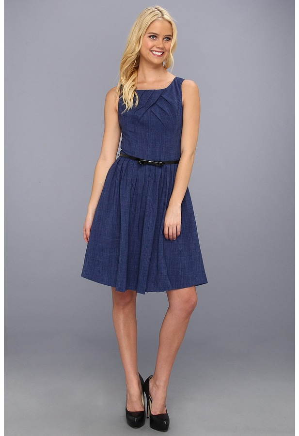 Ellen Tracy Sleeveless Printed Fit And Flare Dress (Denim) - Apparel