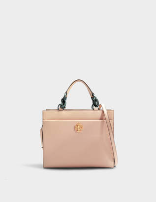 Tory Burch Kira Small Tote Bag in Perfect Sand and Green Danubio Soft Leather