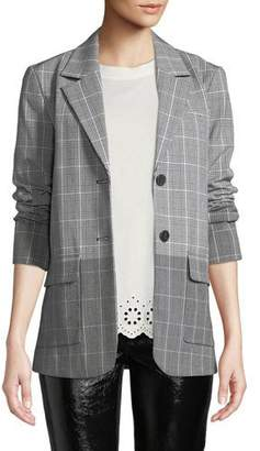 Derek Lam 10 Crosby Oversized Flannel Check Two-Button Blazer