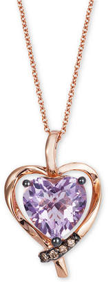"LeVian Le Vian Pink Amethyst (2-1/10 ct. t.w.) & Diamond Accent Heart 18"" Pendant Necklace in 14k Rose Gold"
