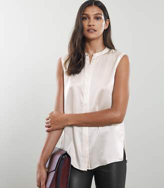 Reiss Lila - Silk Sleeveless Blouse in Off White