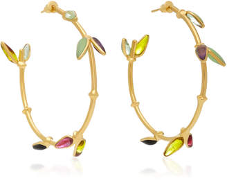 Gripoix Bamboo Creole 24K Gold-Plated Brass and Poured Glass Pierced Earrings