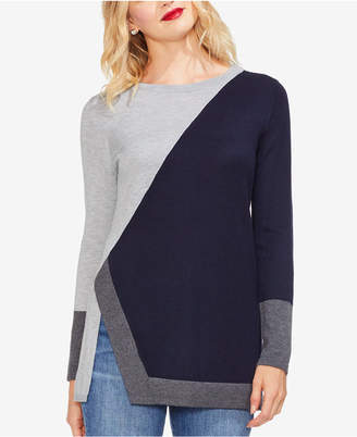 Vince Camuto Colorblocked Asymmetrical-Vented-Hem Sweater