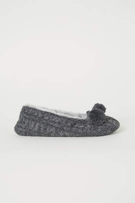 H&M Cable-knit Slippers - Gray