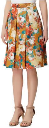 Tahari ASL Petite Floral Box-Pleat Skirt