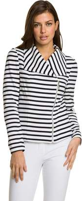 Le Château Women's Stripe Cotton Motorcycle Collar Blazer,M