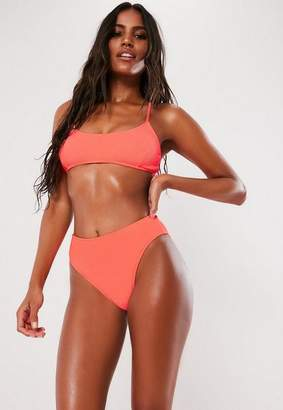 997f736a71 Missguided Neon Peach Crinkle High Waisted High Leg Bikini Bottoms