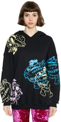 Jeremy Scott The King Print Hooded Cotton Sweatshirt