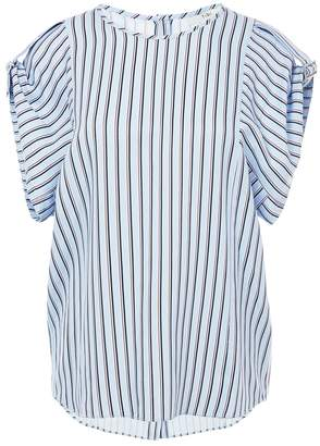 Tibi Viscose Stripe Buckle Sleeve Top With Button Back