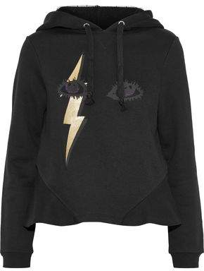RED Valentino Metallic Printed French Cotton-blend Terry Hoodie