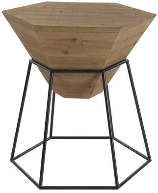 DecMode Decmode Modern 24 X 22 Inch Brown Hexagon Block Wooden Accent Table With Black Hexagonal Prism Frame Stand, Brown