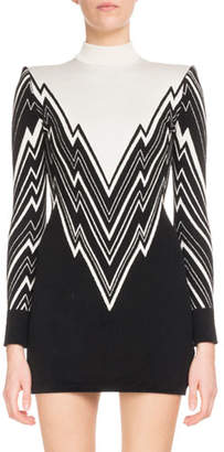 Balmain Long-Sleeve Mock-Neck Lightning-Knit Mini Cocktail Dress