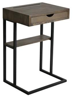 Williston Forge Randazzo Metal and Wood End Table with Storage Williston Forge