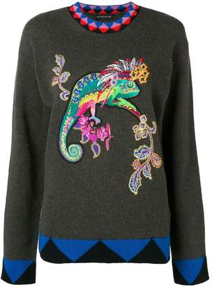 Etro embroidered Lizard jumper