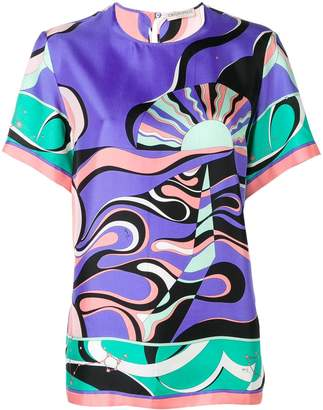 Emilio Pucci Copacabana Print Silk T-Shirt