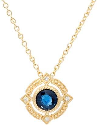 Judith Ripka 14K Gold Ruby, Emerald or Sapphire Pendant w/Chain