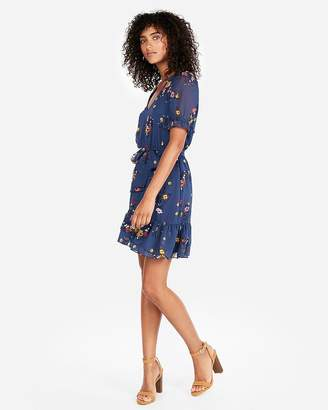 Express Floral Elastic Waist Ruffle Hem Mini Dress
