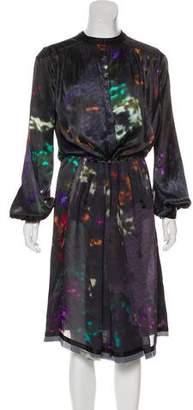 Preen by Thornton Bregazzi Printed Long Sleeve Midi Dress